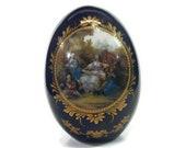Vintage Limoges Egg - large, gold enamel, cobalt blue, porcelain, 1970s - France, double Victorian family scene, collectible, marked