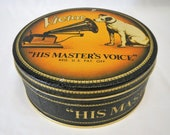 Vintage RCA Victor Nipper Dog Round Tin - His Master 39 s Voice - 1980s - collectible, fruit cake, radio, phonograph, advertising, victrola