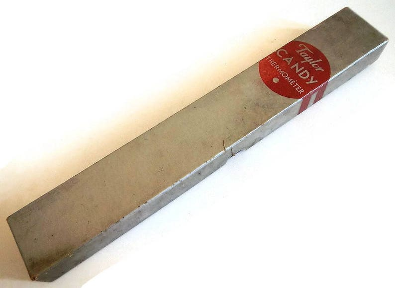Bauer kitchen Taylor Vintage Sweetie/'s Candy /& Jelly Thermometer advertising,chippy paint box white enamel -baking green wood handle