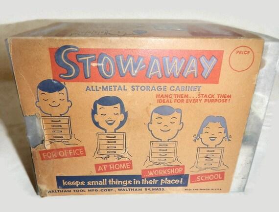 Vintage Stow Away Grey Metal 4 Drawer Storage Cabinet | Etsy