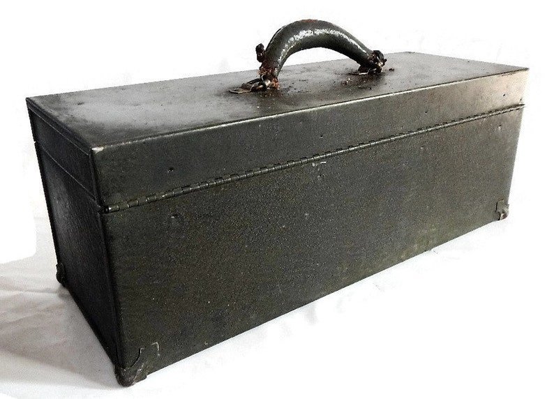 leather handle Vintage Metal ToolBox photo prop industrial decor rusty green Kennedy Kits storage man cave Big Horn Line patina