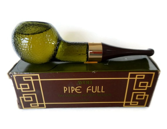 Vintage Avon Pipe Full Tai Winds After Shave green glass 1970s decanter, cologne, smoking, mens, man cave decor, tobacciana, in box