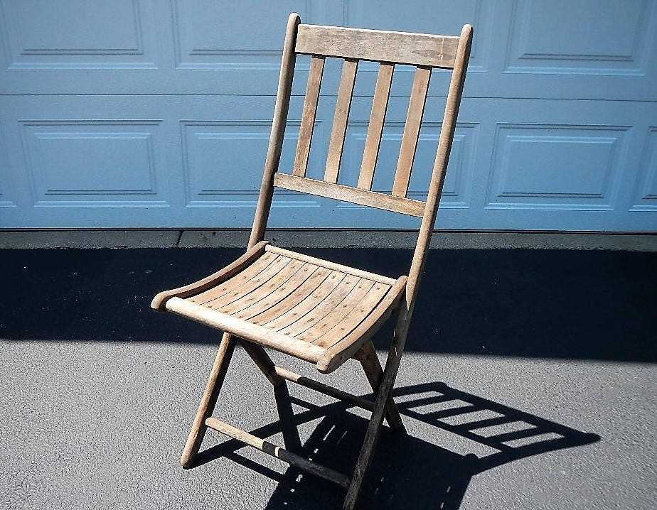 Vintage Wooden Slat Folding Chair Dillingham Mfg Co Wood