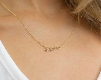 Tiny Name Necklace • Gold Name Necklace • Custom Name Plate Necklace •  Bridesmaids Necklace • Bridesmaid Gift •  Personalized Jewelry