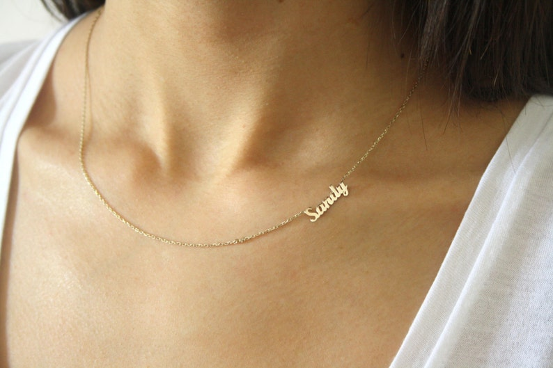 d3f025eb1f568 Sideways Name Necklace Personalized Mini Name Necklace