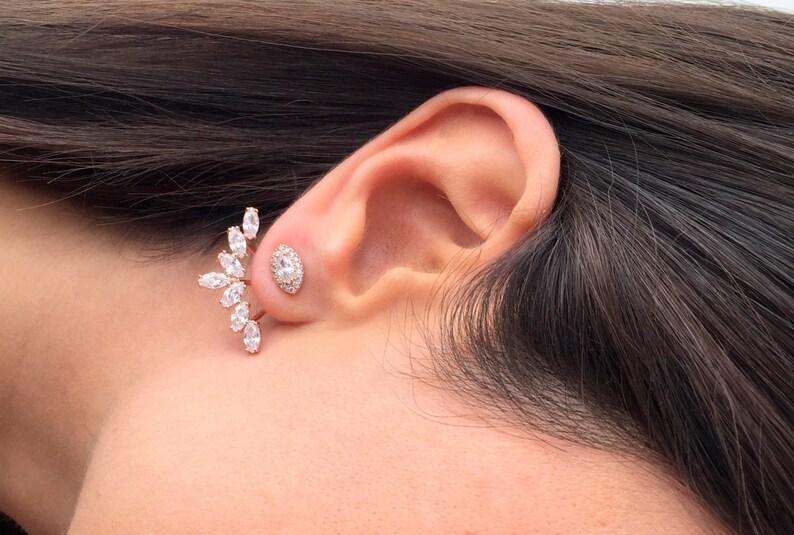 Sunburst Ear jacket Earrings  Same Day SHIPPING  Minimalist Ear Jacket    Fashion Ear Jacket  Rose Gold Front and Back Post Earring