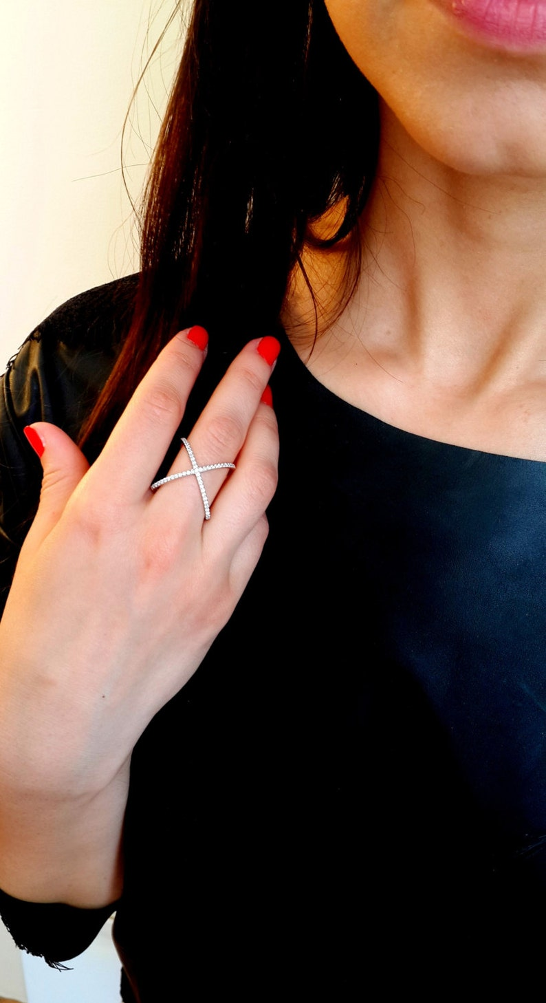X Ring  Criss Cross Ring  Gold X Ring   Silver Thin CZ ring  Cross Cross Ring  Connected Ring  Knuckle Ring  Mother/'s Day Gift