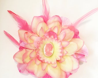 Pink & Yellow Victorian Skeleton Flower Feather Fascinator Pinup/Burlesque/Rockabilly/Psychobilly Hair Clip