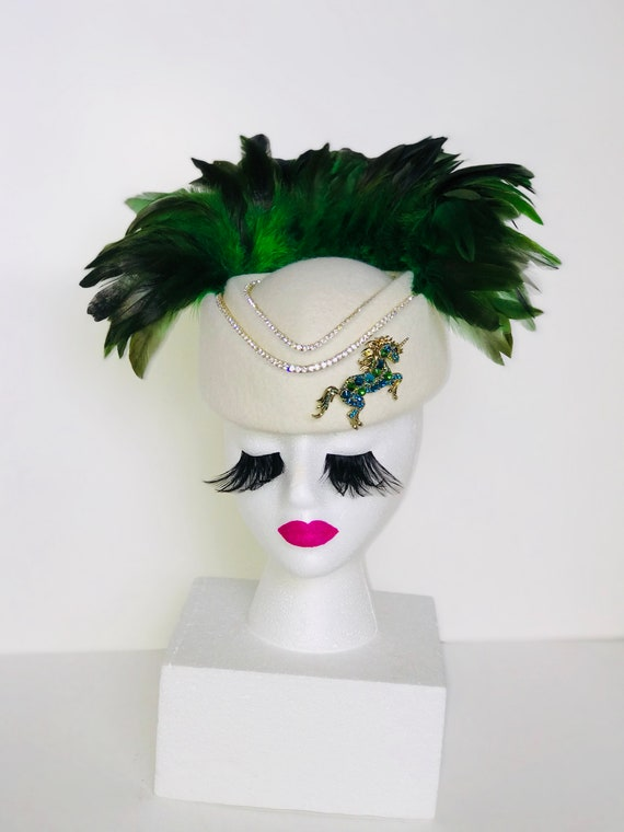Green   White Rhinestone Feather Fascinator  6d4b6022870