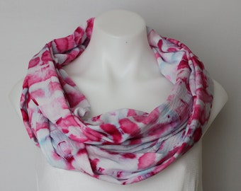 53912b4e9079d4 Scarf Ice Dyed Infinity scarf Tie dye Rayon Shibori dyed boho chic indie  festival fashion accessories - Pretty in Pink stained glass