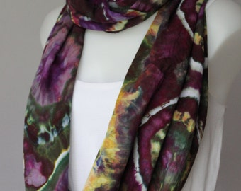 Tie Dye Infinity scarf Ice Dyed Rayon Circle scarf - Kimmys Purple bulls eye