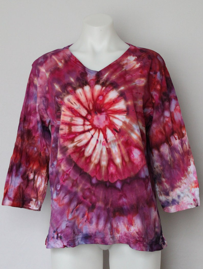 6ca05d1e7d407c Tie dye shirt 3 quarter sleeve size LARGE - Ice dye boho READ item details  - Sunset Blush twist by A Spoonful of Colors
