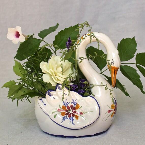 Portuguese Ceramic Swan Vase Flower Vase Planter Shabby Chic Etsy