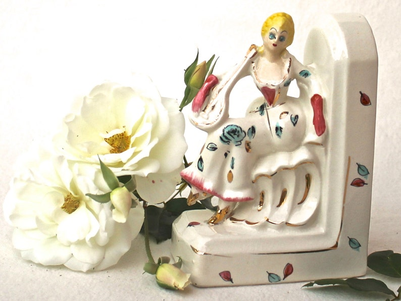 Baroque Lady Woman Figurine Bookend Porcelain Mandolin Book End Roccoco  gold white pink blue yellow green Vanity romantic decor cottage chic