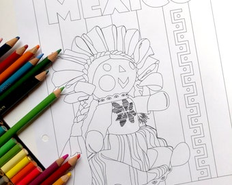 Instant download Coloring book page | Printable Adult & Children Coloring Page | Coloring At Home Activity  | Mexican Doll