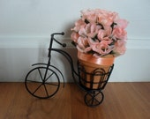 Black Metal Wire Tricycle Planter Stand