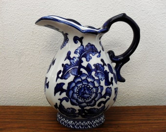 Blue And White Floral Porcelain Pitcher By The Bombay Company
