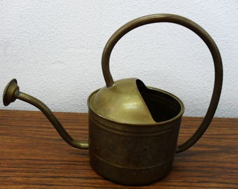 Brass Metal Watering Can Planter Home Garden Decor