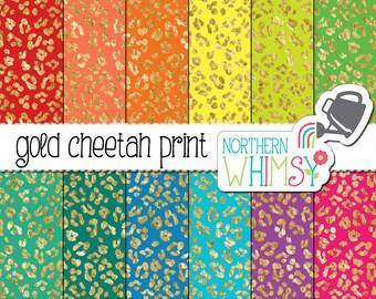 Cheetah Print Digital Paper – Gold foil leopard print scrapbook paper - seamless patterns - printable jungle paper - commercial use OK