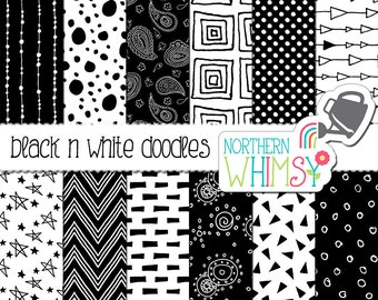 Black and White Scrapbook Paper – seamless doodle digital paper with hand drawn patterns - printable paper -commercial use