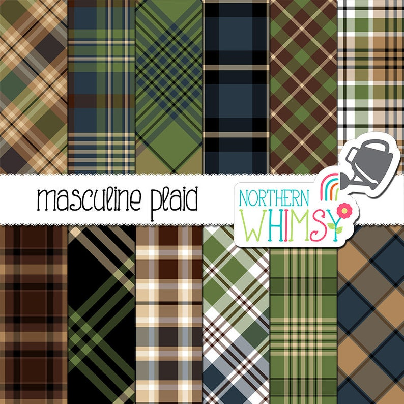 Masculine Digital Paper - Plaid in neutral brown, tan, olive, and navy blue  - pattern for men, boys scrapbook paper - commercial use CU OK