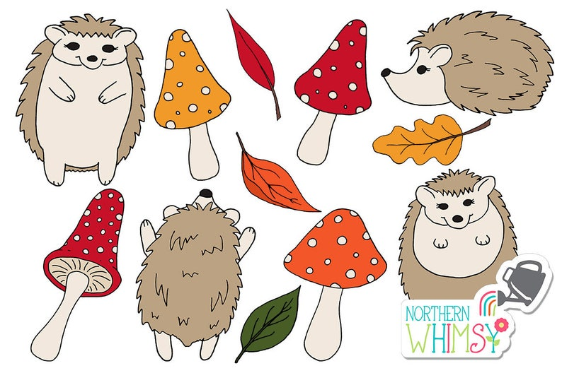 brown and gold commercial use CU OK orange Fall Clip Art hand drawn autumn hedgehog and mushroom illustrations in deep red