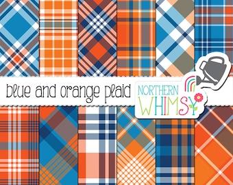 Boys Digital Paper - Blue and Orange Plaid Patterns