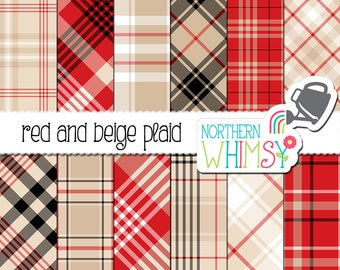 Red and Beige Plaid Digital Paper