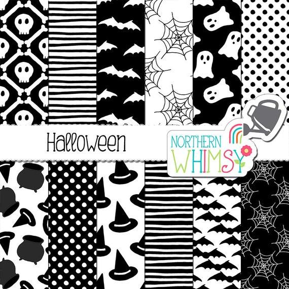 Blanco y negro Halloween Digital papel spooky fantasma | Etsy