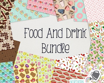 Food and Drink Digital Paper BUNDLE - save 50% on Northern Whimsy hand drawn seamless pattern sets!  Commercial use (CU) license included.