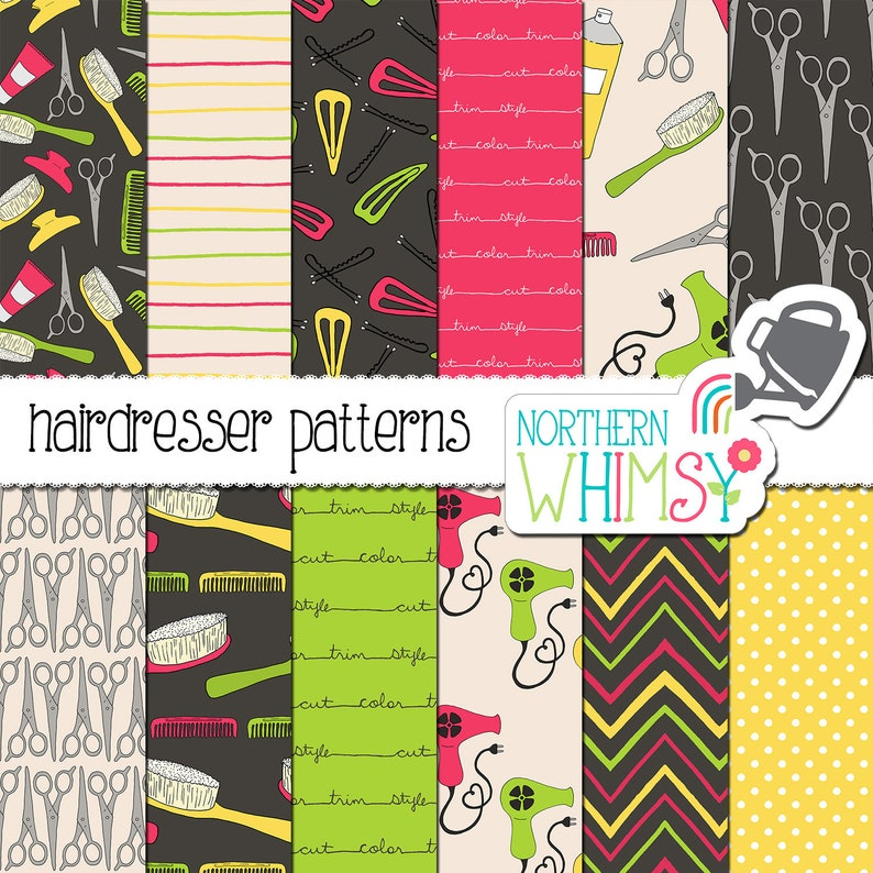 haircut  stylist digital paper in pink green /& yellow. Hairdresser Seamless Patterns
