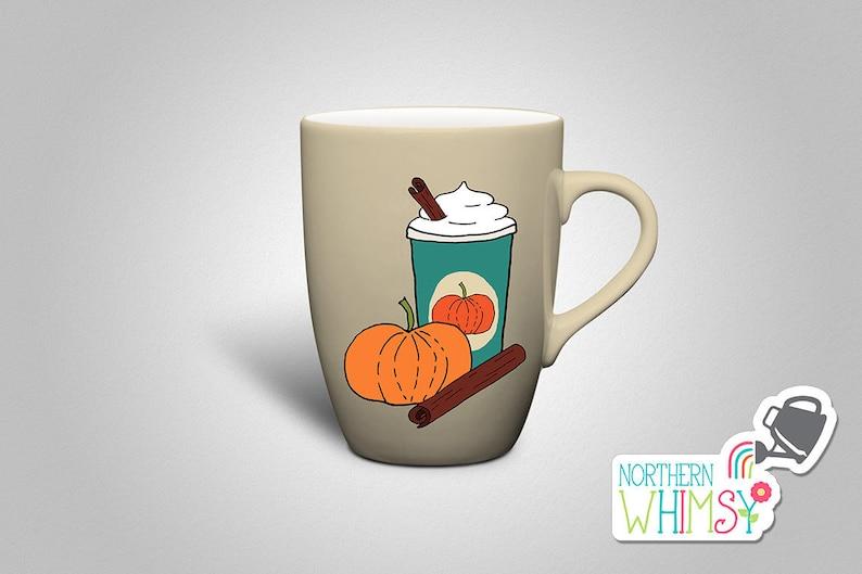 Fall Clip Art Pumpkin Spice Latte coffee | Etsy