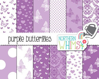 Purple Butterfly Digital Paper – butterfly scrapbook paper in lavender and white - baby digital paper - printable paper - commercial use