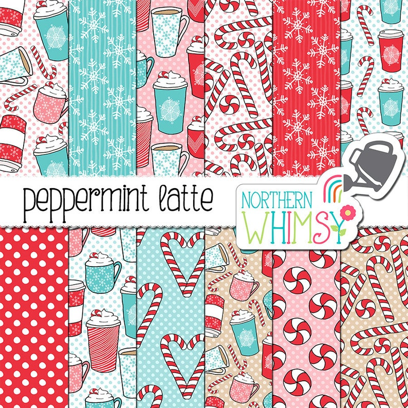 Christmas Digital Paper  Peppermint Latte  image 0