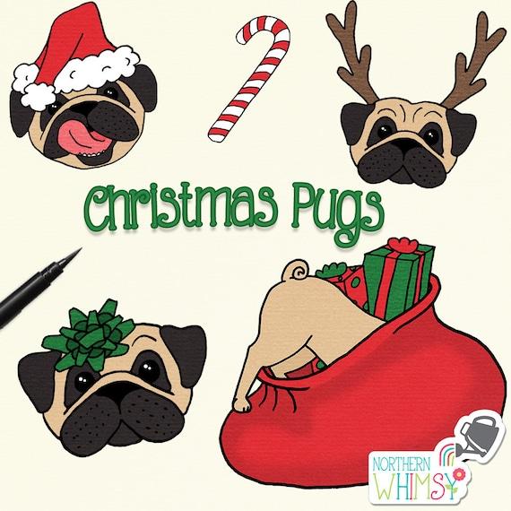 Sensational Christmas Clip Art Christmas Pugs Pug Dog Illustrations With Santa Hats Reindeer Horns T Bows Presents Etc Commercial Use Ok Machost Co Dining Chair Design Ideas Machostcouk
