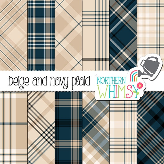 Navy and Beige Plaid Digital Paper - neutral, masculine plaid patterns for  scrapbooking or graphic design - commercial use OK