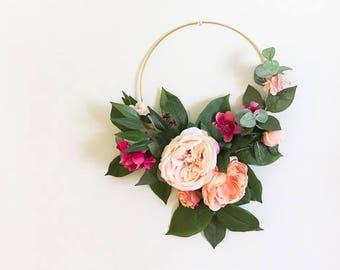 Flower Hoop Bouquet, Floral Hoop, Alternative Wedding Bouquet, Floral Nursery Decor, Wedding Flower Bouquet, Hoop Wall Hanging