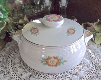 Vintage Casserole Dish, Hall's Superior Quality Kitchenware Casserole Dish, Hall's Rose White Pattern, Cottage Kitchen Bakeware, Rose Dish