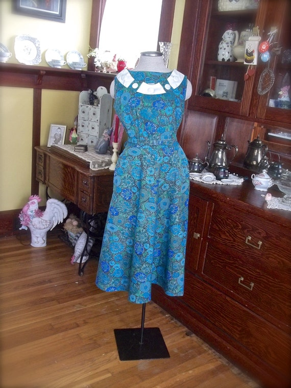 Vintage A Line Dress, Vintage Green And Blue Flora