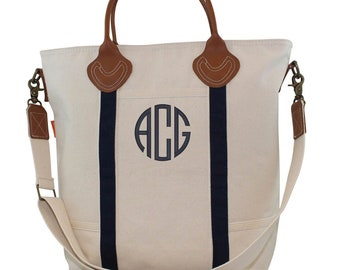 80d9502dd1d8 Zipper Top Monogrammed Canvas Tote Bag Personalized Laptop Bag Great gift  for her Monogrammed Leather handle bag