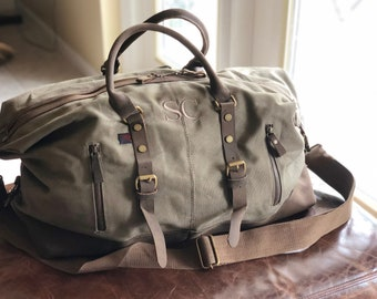 8a3f9868f8 Gift for him Monogrammed Weekender Bag Military Style weekender bag  Personalized Duffel Bag Monogrammed Canvas Duffle