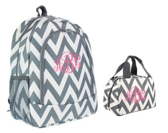 57614272c5a5 Girls Backpack Personalized Backpack Kids Personalized Chevron Backpack   Monogrammed  Girls Backpack   Personalized Backpack and lunch bag