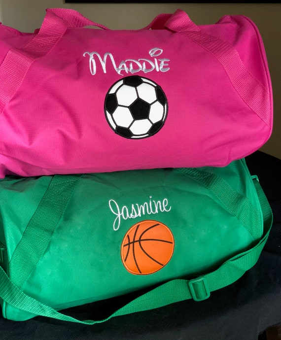 Personalized Duffel Bag with Basketball   Soccer ball applique  34c6fbe067687