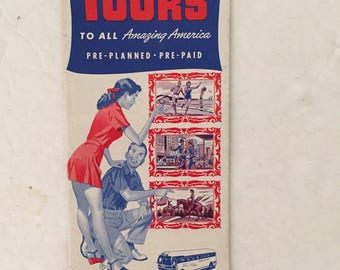 Vintage Vacation Tours booklet by Greyhound