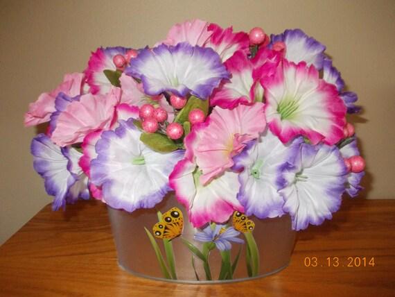 Pink and purple flower arrangement easter decoration spring etsy image 0 mightylinksfo
