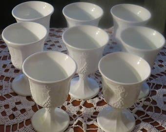Indiana Glass, Colony Harvest,  White Milk Glass Goblets, Indiana Milk Glass, Harvest Design, Goblets, Vintage Milk Glass, Wedding Glasses