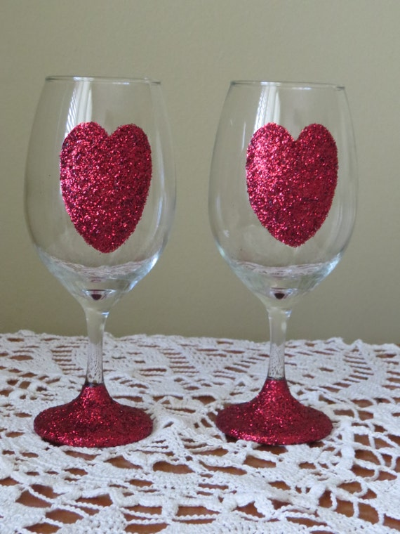 Valentine Wine Glasses Glitter Wine Glasses Heart Glasses Etsy