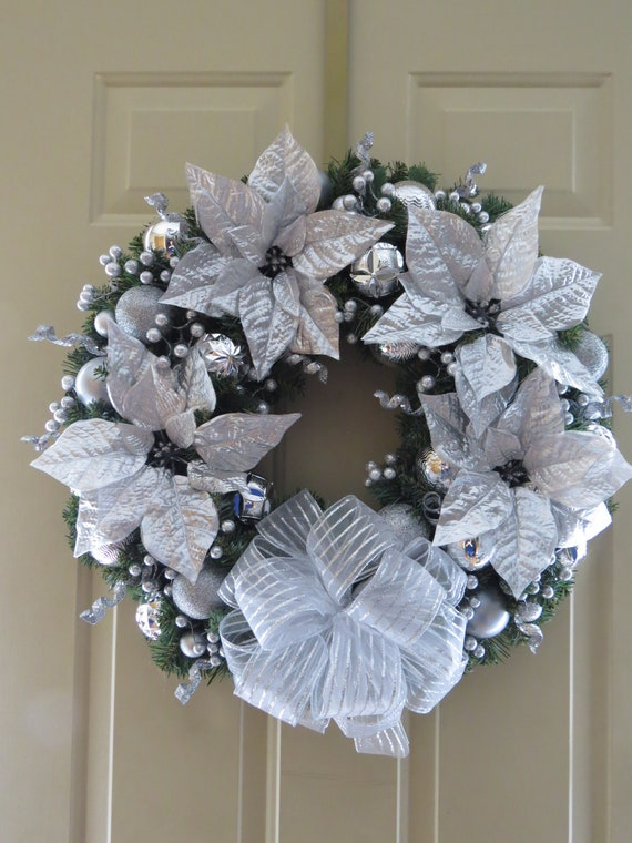 Silver Christmas Wreath.Christmas Wreath Silver Christmas Wreath 24 Inch Wreath Christmas Door Wreath Holiday Wreath Poinsettia Wreath Christmas Decoration