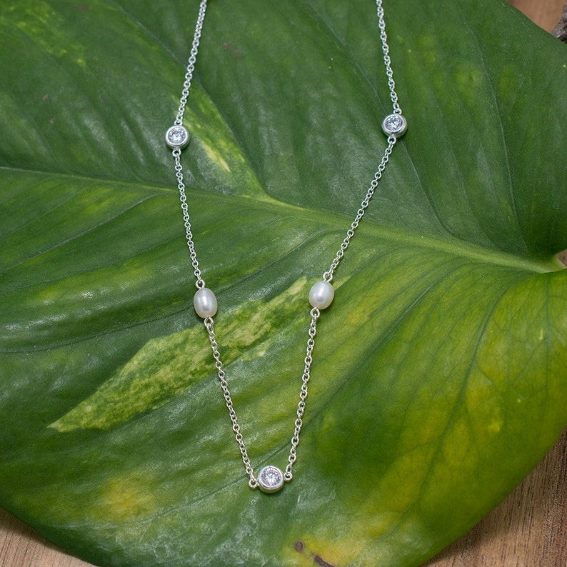 925 Silver Pearl CZ Station Necklace 16 inches Silver Delicate Station Necklace Sterling Silver Freshwater Pearl CZ Station Necklace