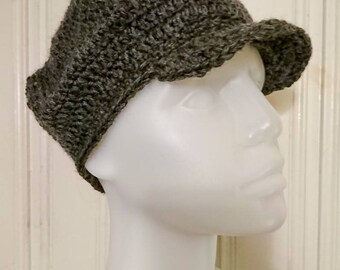 Crocheted brimmed cap, size XS